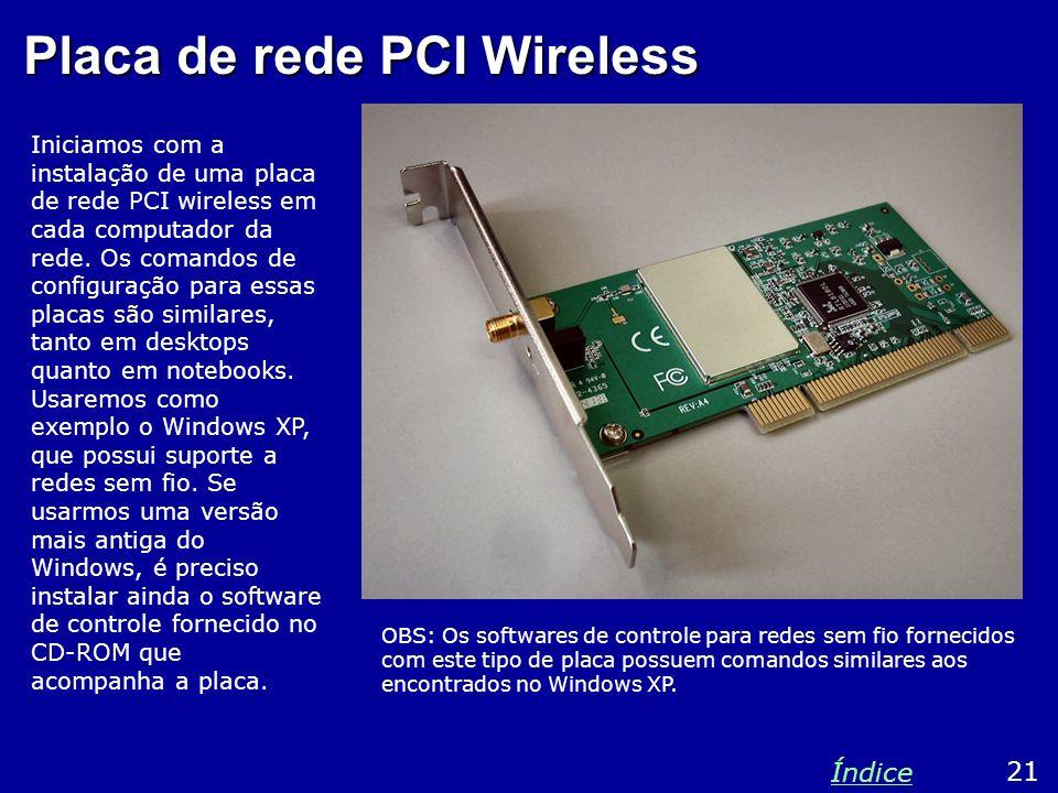 Placa de rede PCI Wireless Iniciamos com a instalação de uma placa de rede PCI wireless em cada computador da rede. Os comandos de configuração para e