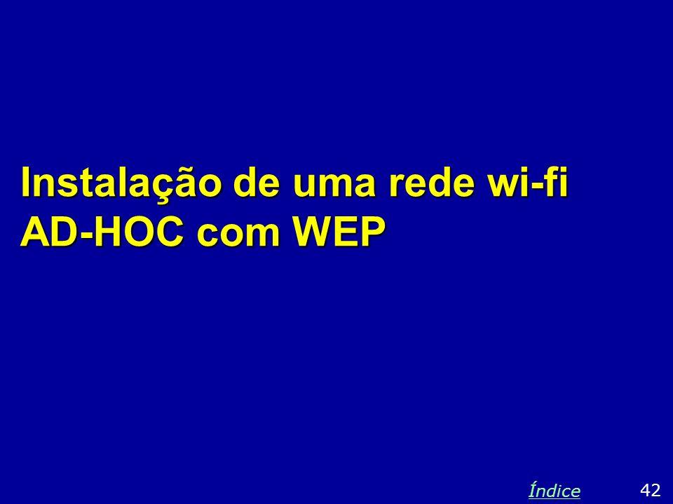Instalação de uma rede wi-fi AD-HOC com WEP 42 Índice
