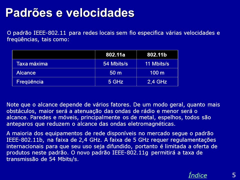 Padrões e velocidades O padrão IEEE-802.11 para redes locais sem fio especifica várias velocidades e freqüências, tais como: 5 Índice 802.11a802.11b T