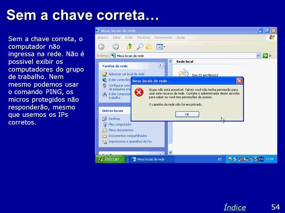 Sem a chave correta… Sem a chave correta, o computador não ingressa na rede. Não é possivel exibir os computadores do grupo de trabalho. Nem mesmo pod