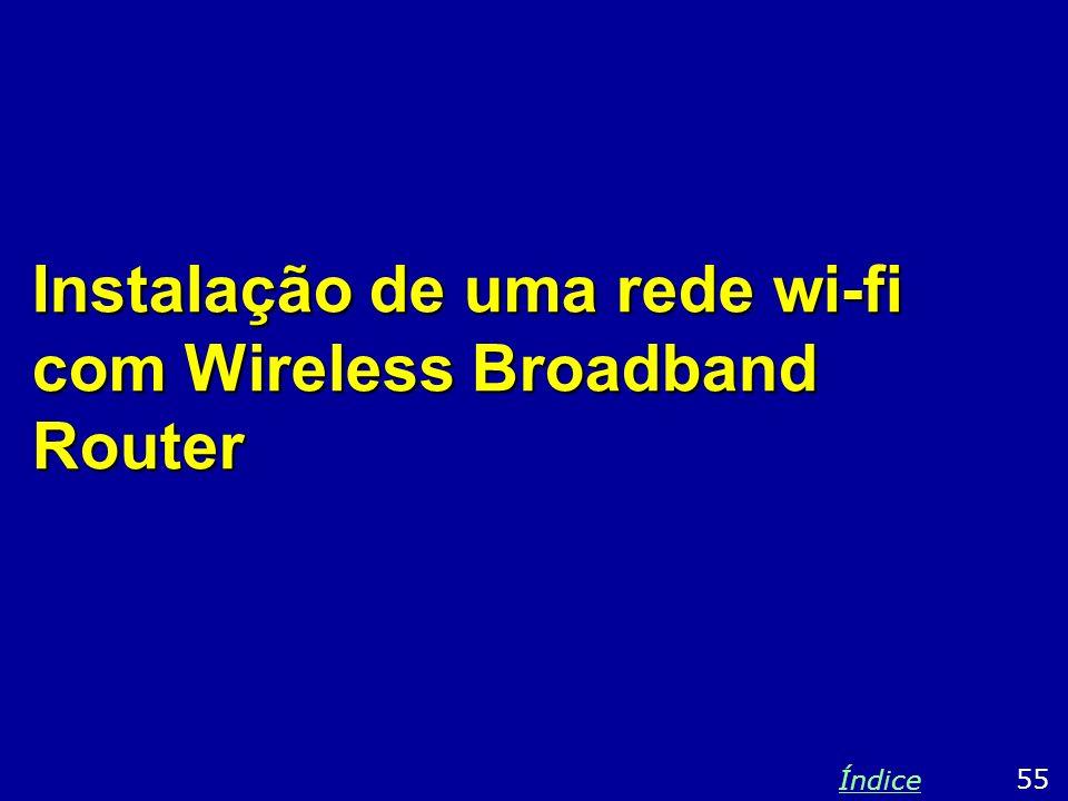 Instalação de uma rede wi-fi com Wireless Broadband Router 55 Índice