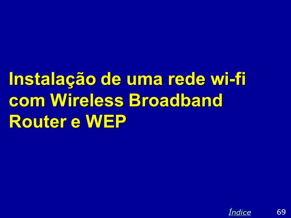 Instalação de uma rede wi-fi com Wireless Broadband Router e WEP 69 Índice