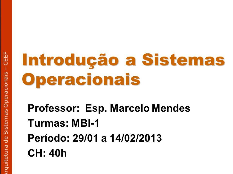 Introdução a Sistemas Operacionais Professor: Esp.