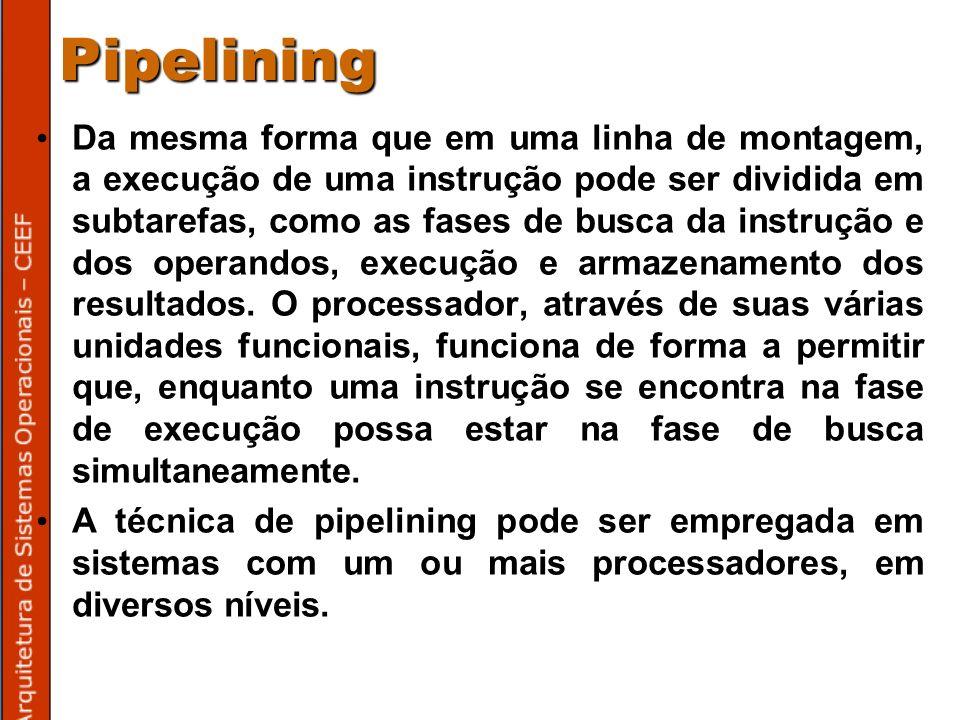 Pipelining Da mesma forma que em uma linha de montagem, a execução de uma instrução pode ser dividida em subtarefas, como as fases de busca da instrução e dos operandos, execução e armazenamento dos resultados.