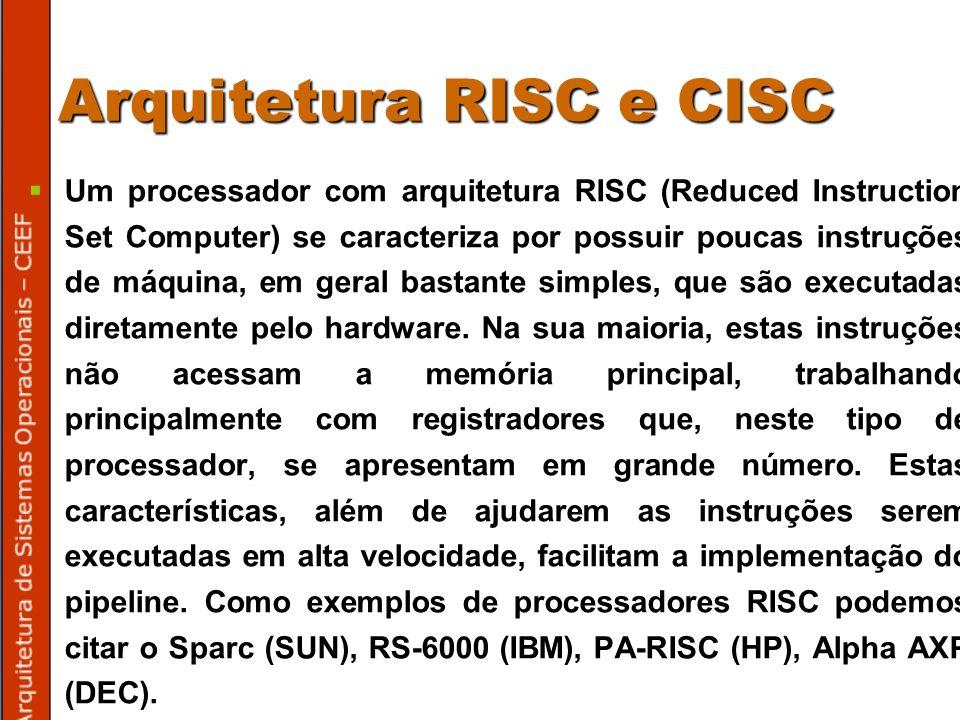 Arquitetura RISC e CISC Um processador com arquitetura RISC (Reduced Instruction Set Computer) se caracteriza por possuir poucas instruções de máquina, em geral bastante simples, que são executadas diretamente pelo hardware.