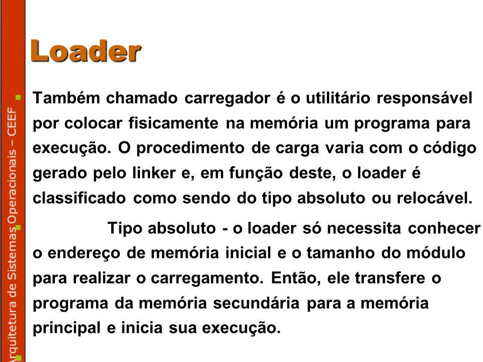 Loader Também chamado carregador é o utilitário responsável por colocar fisicamente na memória um programa para execução.