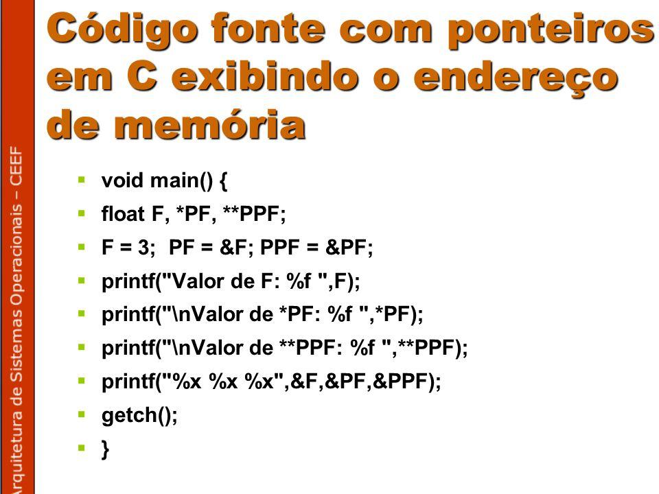 Código fonte com ponteiros em C exibindo o endereço de memória void main() { float F, *PF, **PPF; F = 3; PF = &F; PPF = &PF; printf( Valor de F: %f ,F); printf( \nValor de *PF: %f ,*PF); printf( \nValor de **PPF: %f ,**PPF); printf( %x %x %x ,&F,&PF,&PPF); getch(); }