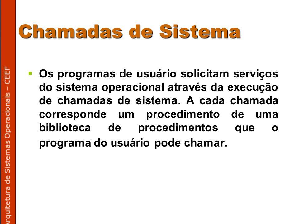 Chamadas de Sistema Os programas de usuário solicitam serviços do sistema operacional através da execução de chamadas de sistema.