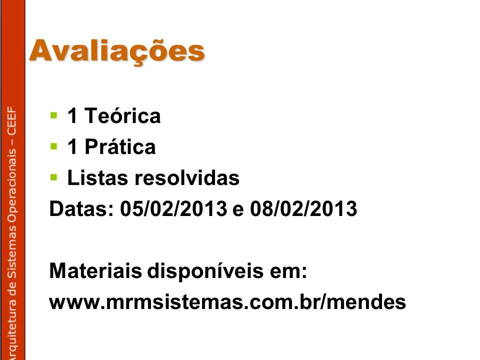 Avaliações 1 Teórica 1 Prática Listas resolvidas Datas: 05/02/2013 e 08/02/2013 Materiais disponíveis em: www.mrmsistemas.com.br/mendes
