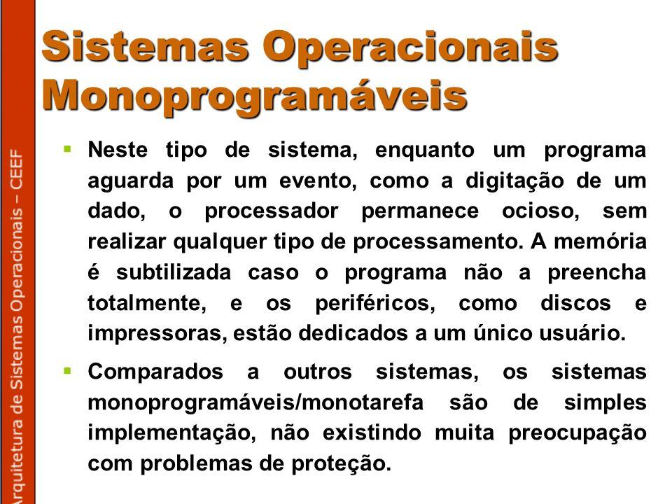 Sistemas Operacionais Monoprogramáveis Neste tipo de sistema, enquanto um programa aguarda por um evento, como a digitação de um dado, o processador permanece ocioso, sem realizar qualquer tipo de processamento.