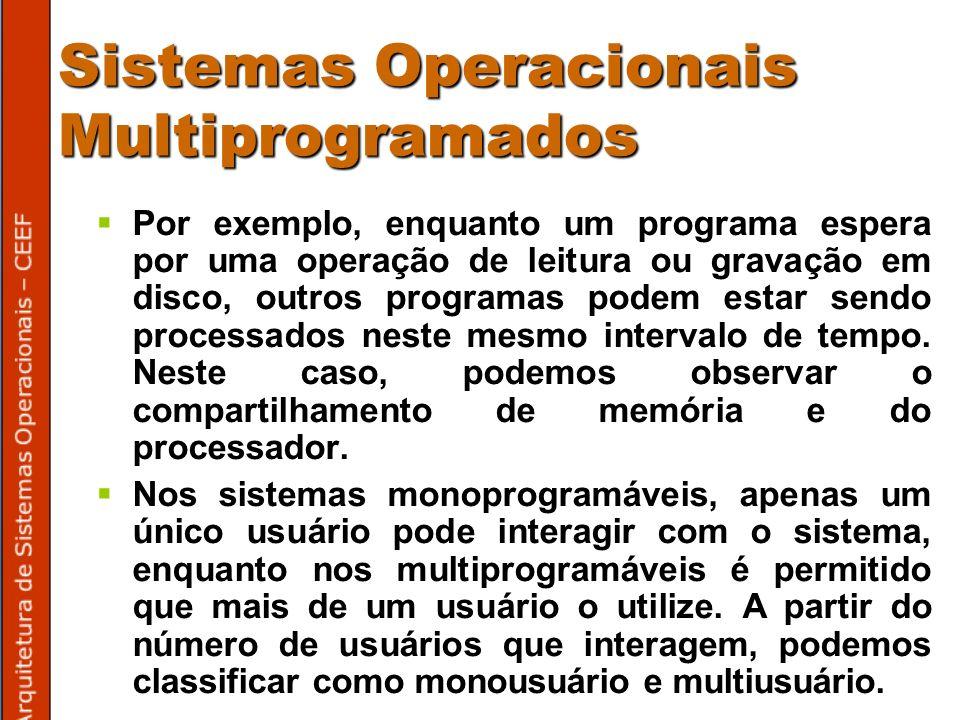 Sistemas Operacionais Multiprogramados Por exemplo, enquanto um programa espera por uma operação de leitura ou gravação em disco, outros programas podem estar sendo processados neste mesmo intervalo de tempo.