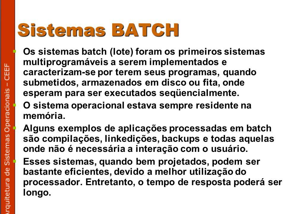 Sistemas BATCH Os sistemas batch (lote) foram os primeiros sistemas multiprogramáveis a serem implementados e caracterizam-se por terem seus programas, quando submetidos, armazenados em disco ou fita, onde esperam para ser executados seqüencialmente.