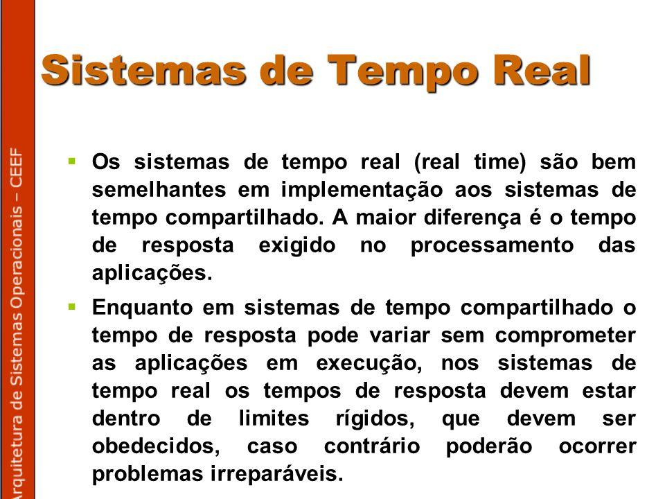 Sistemas de Tempo Real Os sistemas de tempo real (real time) são bem semelhantes em implementação aos sistemas de tempo compartilhado.