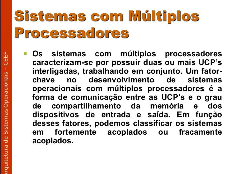 Sistemas com Múltiplos Processadores Os sistemas com múltiplos processadores caracterizam-se por possuir duas ou mais UCPs interligadas, trabalhando em conjunto.