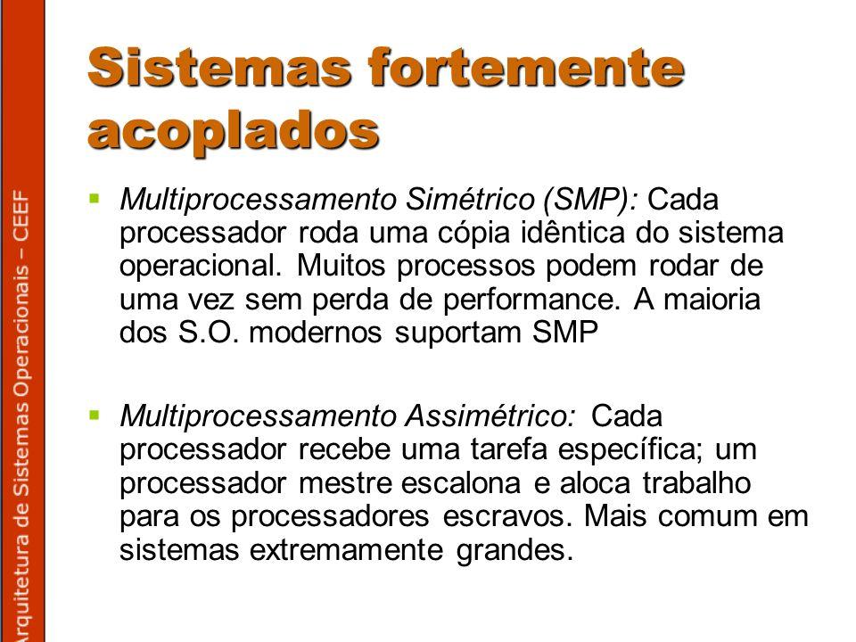 Multiprocessamento Simétrico (SMP): Cada processador roda uma cópia idêntica do sistema operacional.