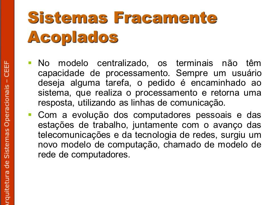 Sistemas Fracamente Acoplados No modelo centralizado, os terminais não têm capacidade de processamento.