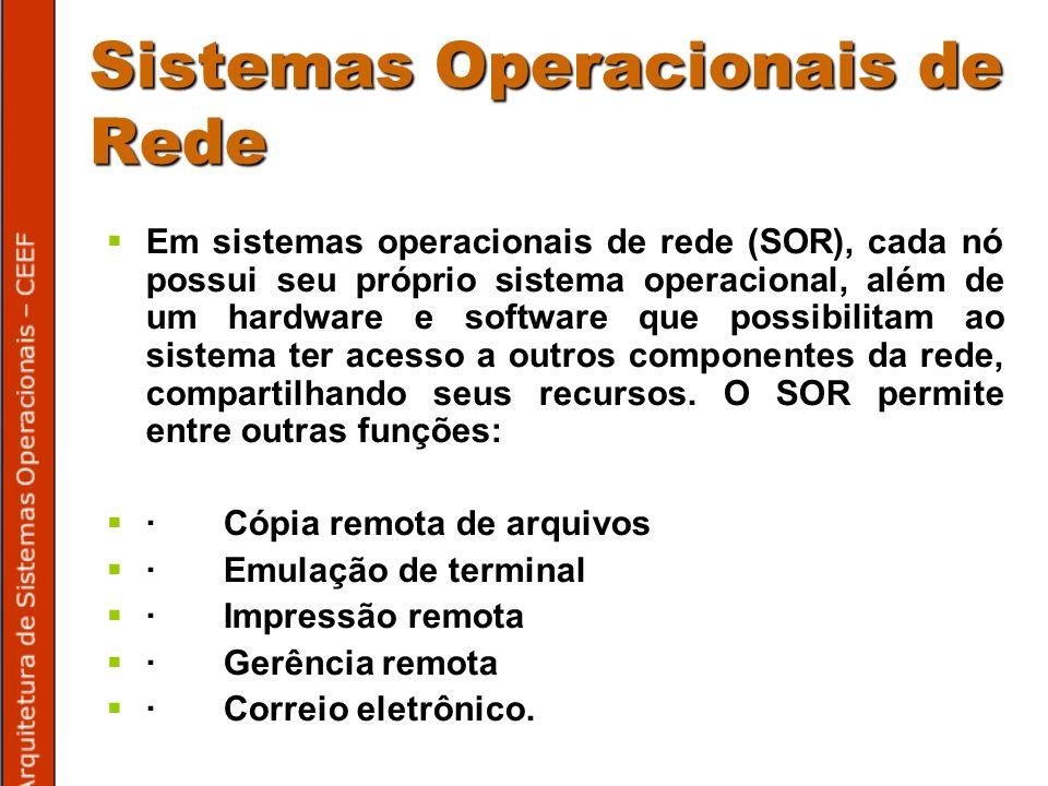 Sistemas Operacionais de Rede Em sistemas operacionais de rede (SOR), cada nó possui seu próprio sistema operacional, além de um hardware e software que possibilitam ao sistema ter acesso a outros componentes da rede, compartilhando seus recursos.