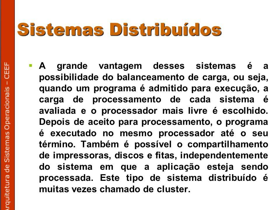 Sistemas Distribuídos A grande vantagem desses sistemas é a possibilidade do balanceamento de carga, ou seja, quando um programa é admitido para execução, a carga de processamento de cada sistema é avaliada e o processador mais livre é escolhido.
