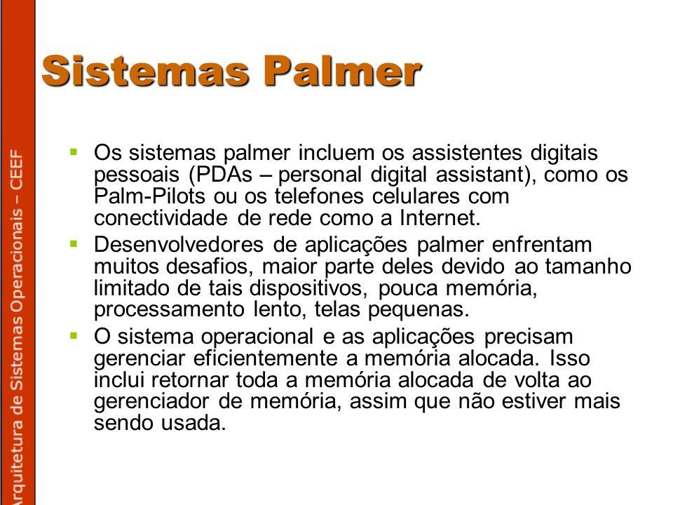 Sistemas Palmer Os sistemas palmer incluem os assistentes digitais pessoais (PDAs – personal digital assistant), como os Palm-Pilots ou os telefones celulares com conectividade de rede como a Internet.