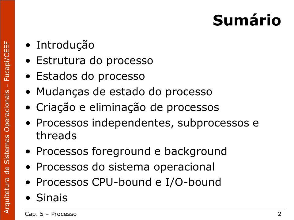 Arquitetura de Sistemas Operacionais – Fucapi/CEEF Cap. 5 – Processo2 Sumário Introdução Estrutura do processo Estados do processo Mudanças de estado