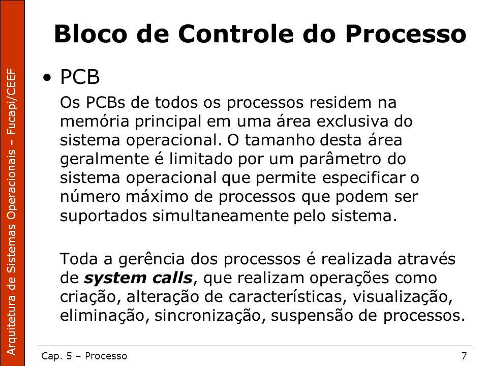 Arquitetura de Sistemas Operacionais – Fucapi/CEEF Cap. 5 – Processo7 Bloco de Controle do Processo PCB Os PCBs de todos os processos residem na memór