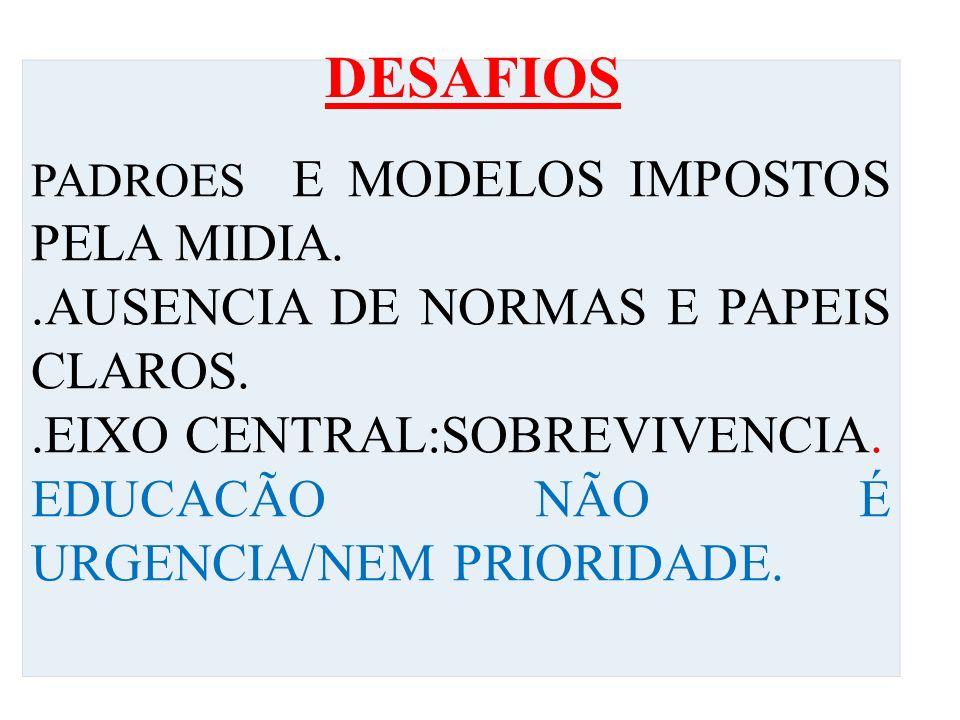 PADROES E MODELOS IMPOSTOS PELA MIDIA..AUSENCIA DE NORMAS E PAPEIS CLAROS..EIXO CENTRAL:SOBREVIVENCIA.