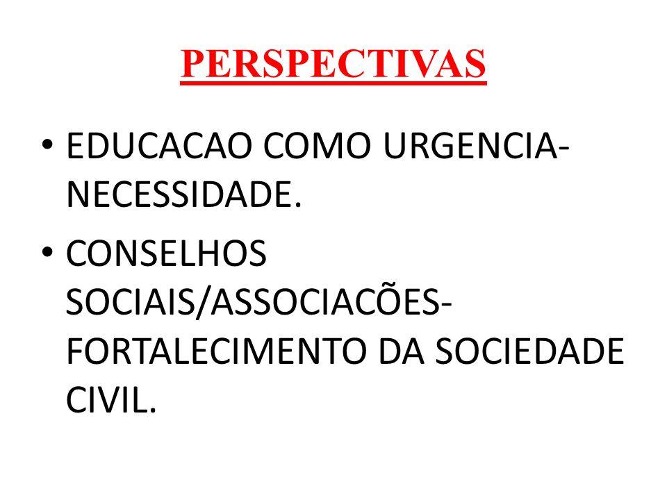 PERSPECTIVAS EDUCACAO COMO URGENCIA- NECESSIDADE.