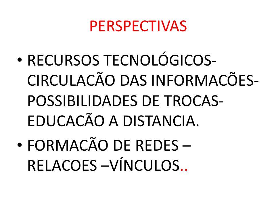 PERSPECTIVAS RECURSOS TECNOLÓGICOS- CIRCULACÃO DAS INFORMACÕES- POSSIBILIDADES DE TROCAS- EDUCACÃO A DISTANCIA.