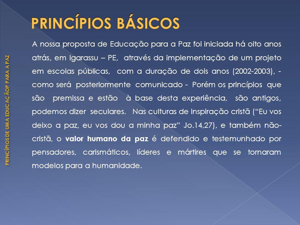 PRINCÍPIOS DE UMA EDUCAÇÃOP PARA A PAZ A nossa proposta de Educação para a Paz foi iniciada há oito anos atrás, em Igarassu – PE, através da implement