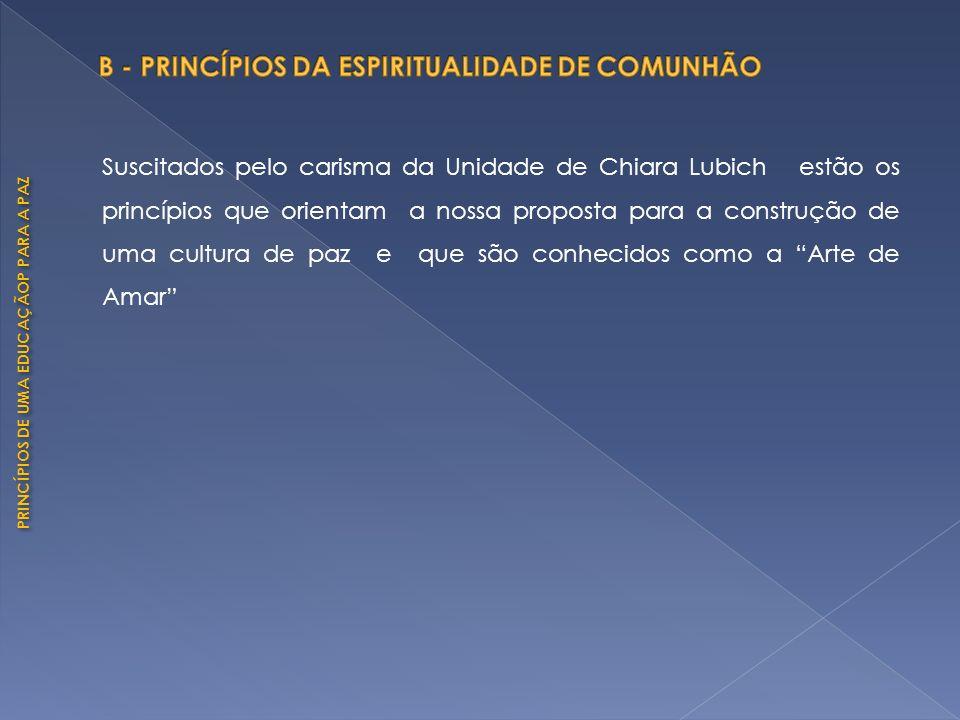 PRINCÍPIOS DE UMA EDUCAÇÃOP PARA A PAZ Suscitados pelo carisma da Unidade de Chiara Lubich estão os princípios que orientam a nossa proposta para a co