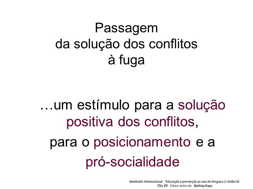 Passagem da solução dos conflitos à fuga …um estímulo para a solução positiva dos conflitos, para o posicionamento e a pró-socialidade Seminário inter