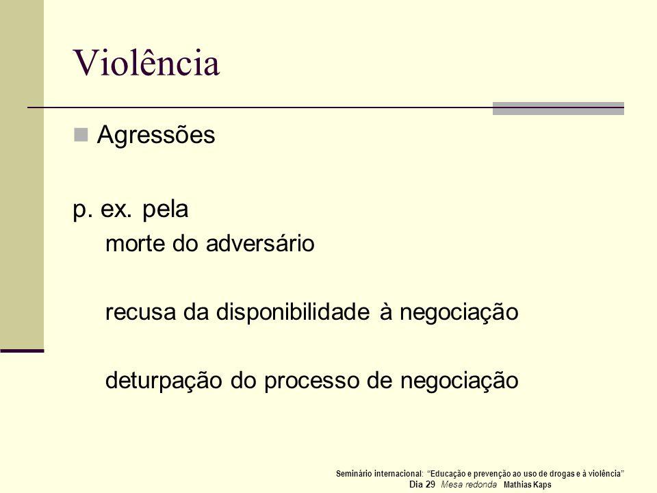 Violência Agressões p. ex. pela morte do adversário recusa da disponibilidade à negociação deturpação do processo de negociação Seminário internaciona