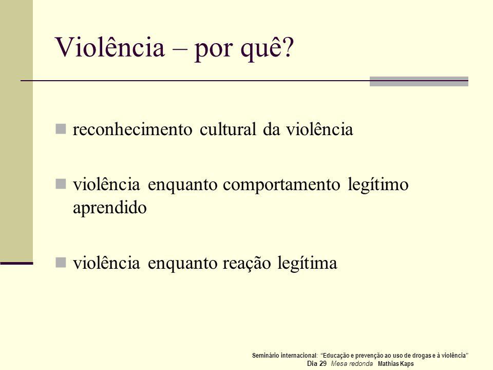 Violência – por quê? reconhecimento cultural da violência violência enquanto comportamento legítimo aprendido violência enquanto reação legítima Semin