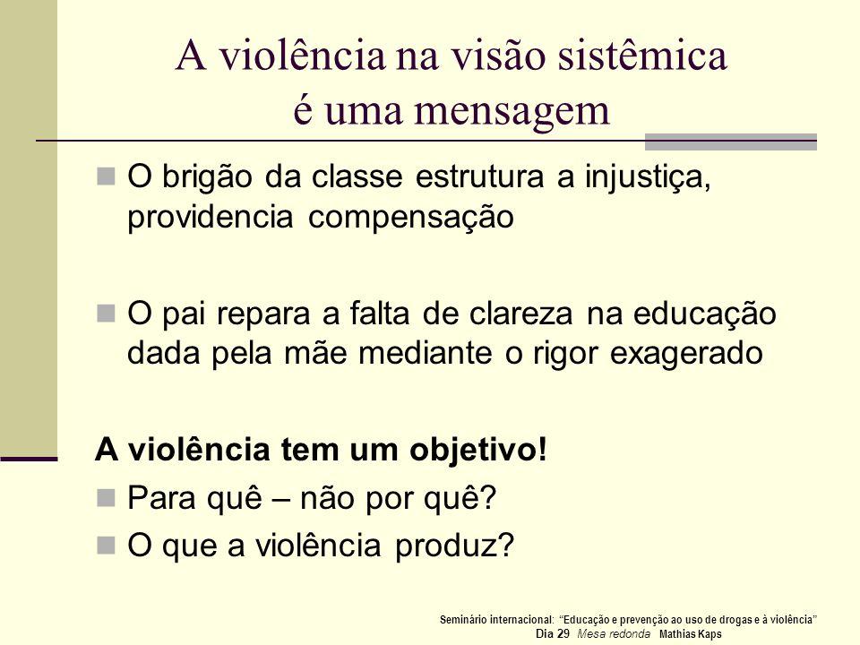 A violência na visão sistêmica é uma mensagem O brigão da classe estrutura a injustiça, providencia compensação O pai repara a falta de clareza na edu