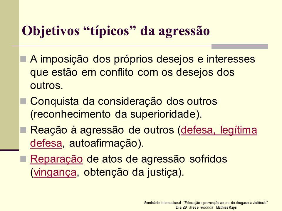 Objetivos típicos da agressão A imposição dos próprios desejos e interesses que estão em conflito com os desejos dos outros. Conquista da consideração