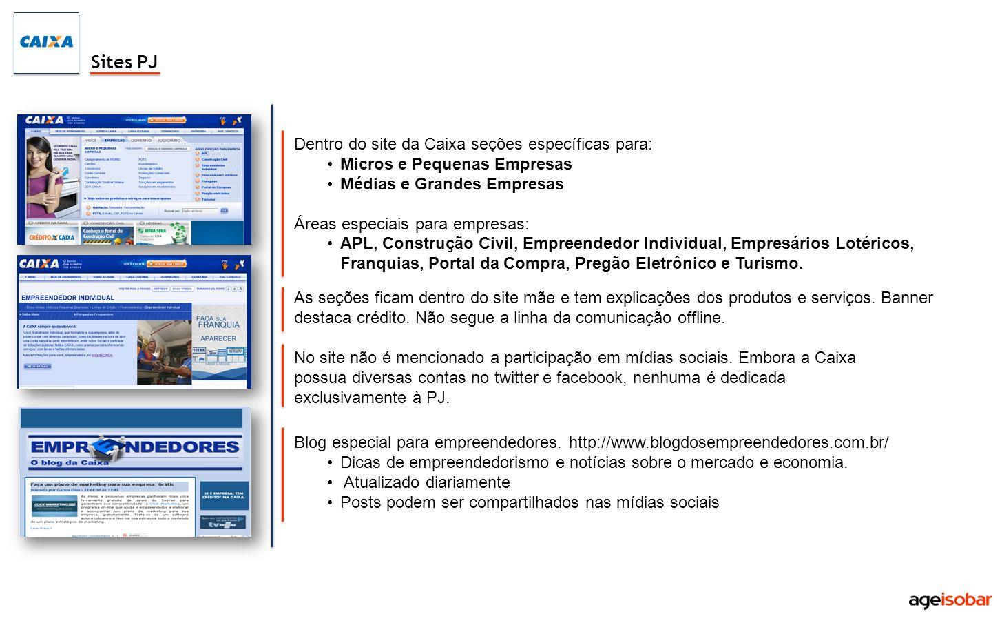 Dentro do site da Caixa seções específicas para: Micros e Pequenas Empresas Médias e Grandes Empresas Áreas especiais para empresas: APL, Construção C