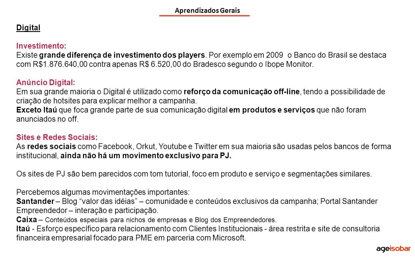 Aprendizados Gerais Digital Investimento: Existe grande diferença de investimento dos players. Por exemplo em 2009 o Banco do Brasil se destaca com R$