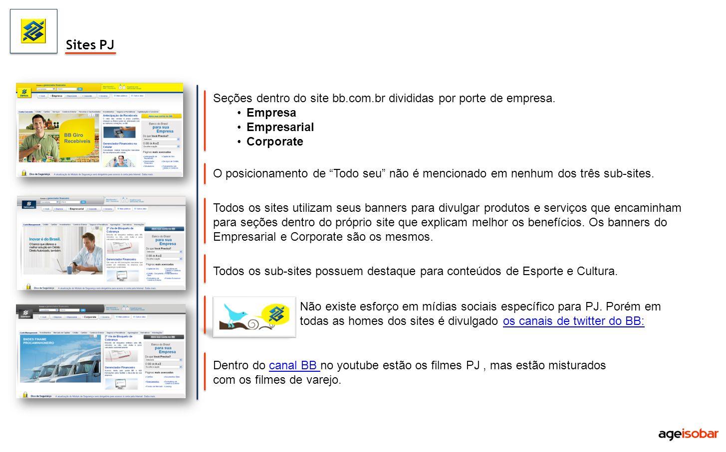 Todos os sites utilizam seus banners para divulgar produtos e serviços que encaminham para seções dentro do próprio site que explicam melhor os benefí