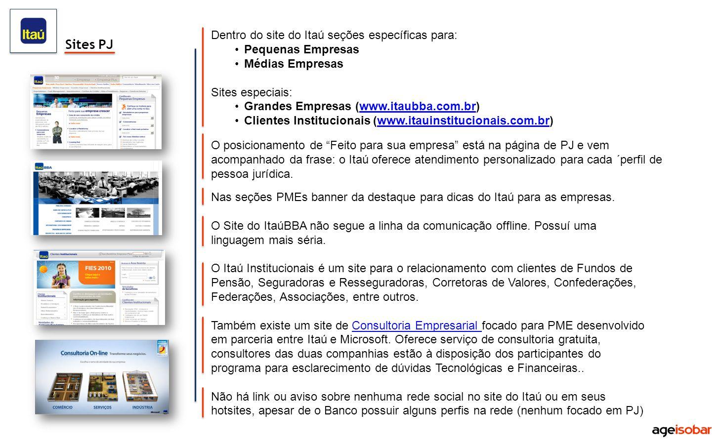 Dentro do site do Itaú seções específicas para: Pequenas Empresas Médias Empresas Sites especiais: Grandes Empresas (www.itaubba.com.br)www.itaubba.co