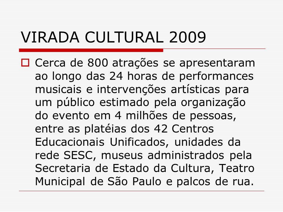 VIRADA CULTURAL 2009 Cerca de 800 atrações se apresentaram ao longo das 24 horas de performances musicais e intervenções artísticas para um público es