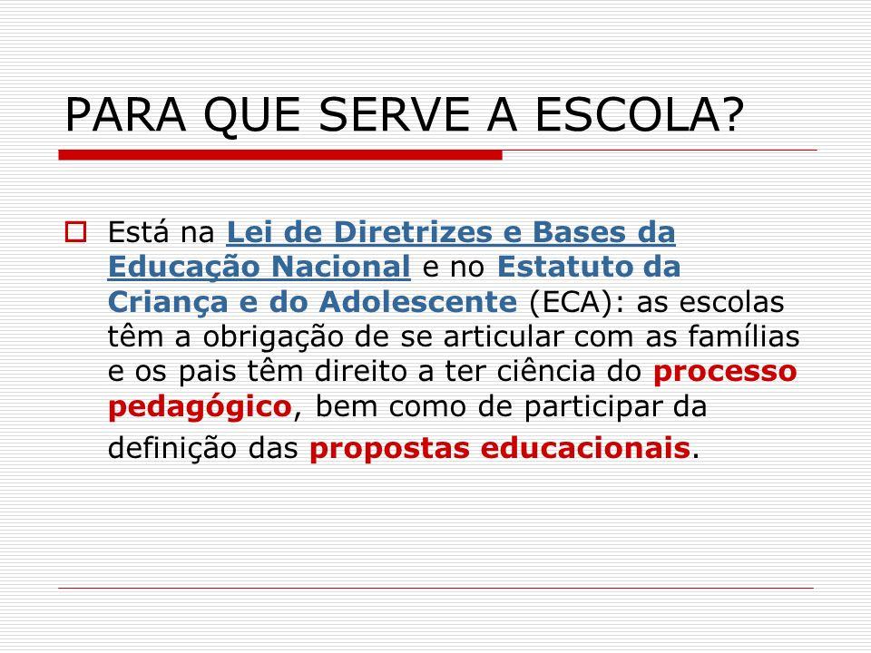 PARA QUE SERVE A ESCOLA? Está na Lei de Diretrizes e Bases da Educação Nacional e no Estatuto da Criança e do Adolescente (ECA): as escolas têm a obri