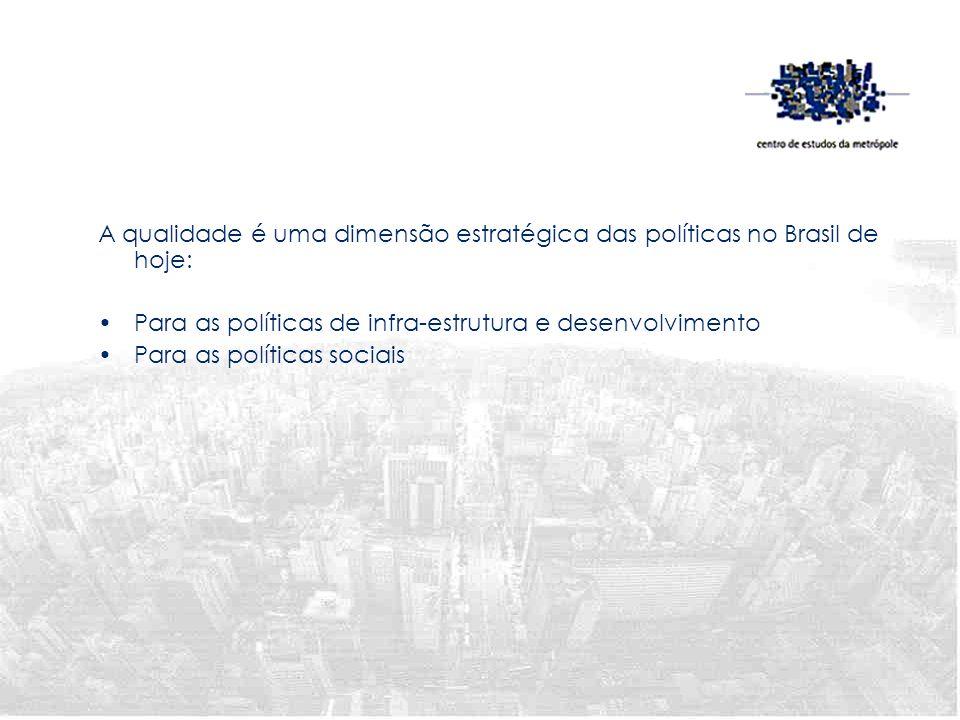 A qualidade é uma dimensão estratégica das políticas no Brasil de hoje: Para as políticas de infra-estrutura e desenvolvimento Para as políticas socia