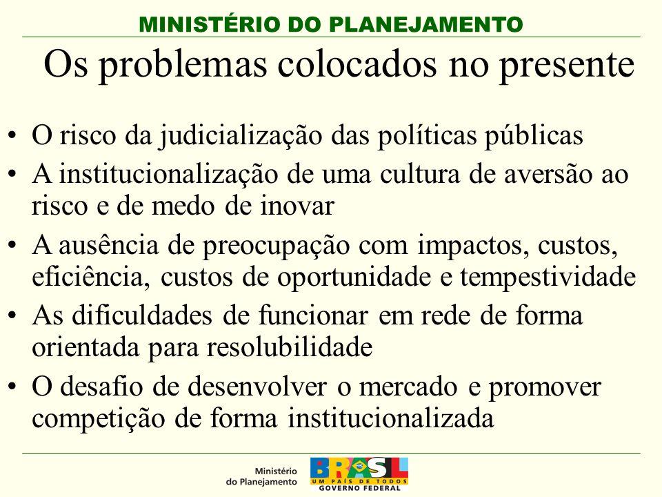 MINISTÉRIO DO PLANEJAMENTO Os problemas colocados no presente O risco da judicialização das políticas públicas A institucionalização de uma cultura de
