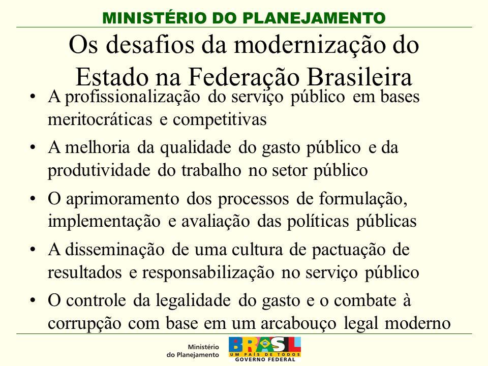MINISTÉRIO DO PLANEJAMENTO Os desafios da modernização do Estado na Federação Brasileira A profissionalização do serviço público em bases meritocrátic