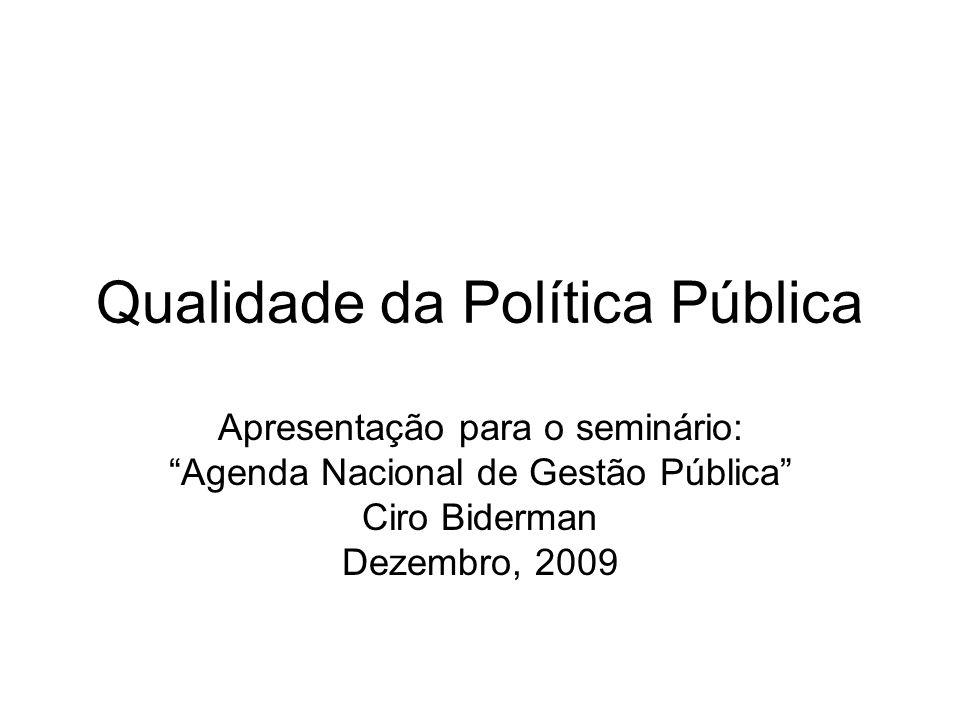 Qualidade da Política Pública Apresentação para o seminário: Agenda Nacional de Gestão Pública Ciro Biderman Dezembro, 2009