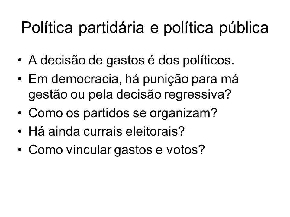 Política partidária e política pública A decisão de gastos é dos políticos. Em democracia, há punição para má gestão ou pela decisão regressiva? Como