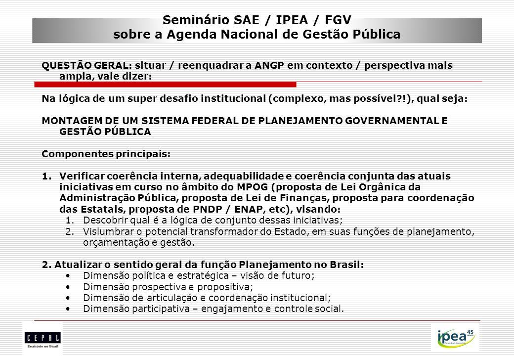 Seminário SAE / IPEA / FGV sobre a Agenda Nacional de Gestão Pública QUESTÃO GERAL: situar / reenquadrar a ANGP em contexto / perspectiva mais ampla,