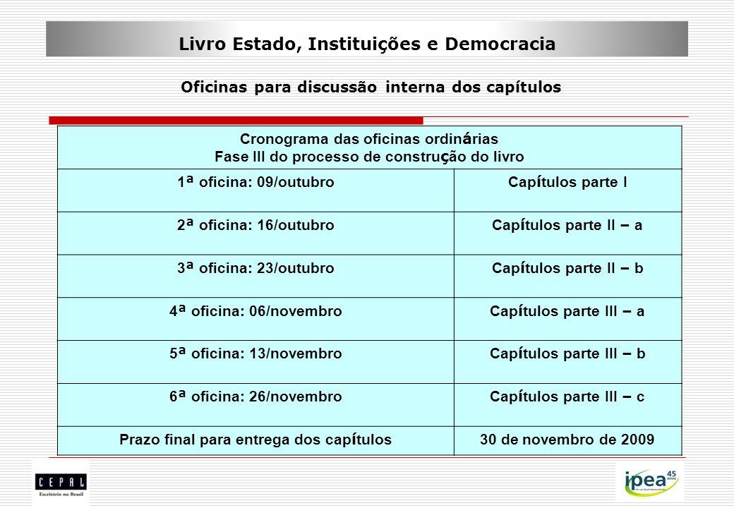 Livro Estado, Instituições e Democracia Oficinas para discussão interna dos capítulos Cronograma das oficinas ordin á rias Fase III do processo de con