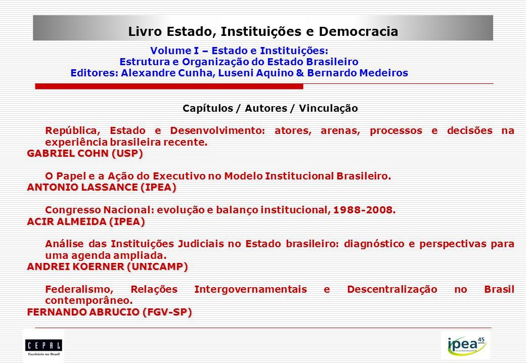 Livro Estado, Instituições e Democracia Volume I – Estado e Instituições: Estrutura e Organização do Estado Brasileiro Editores: Alexandre Cunha, Luse