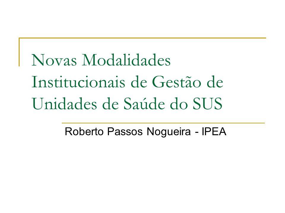 Novas Modalidades Institucionais de Gestão de Unidades de Saúde do SUS Roberto Passos Nogueira - IPEA